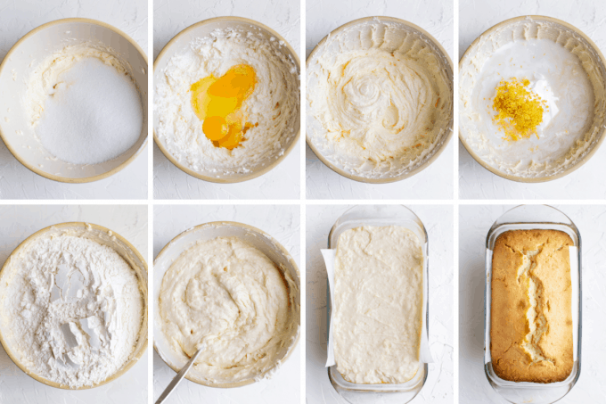 step by step how to make lemon pound cake - image collage