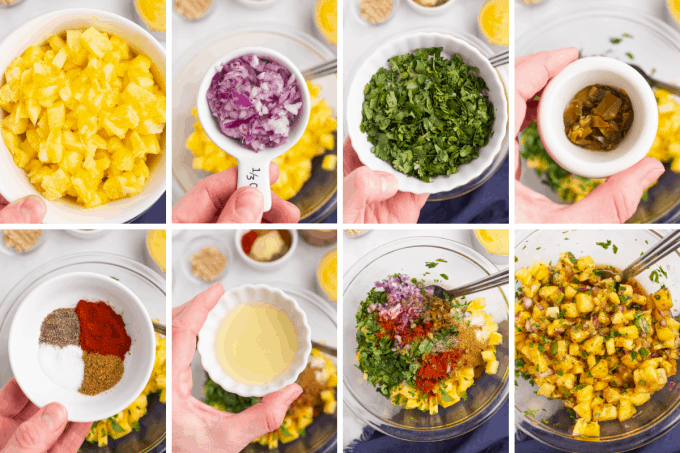 step by step how to make pineapple salsa for carnitas image collage