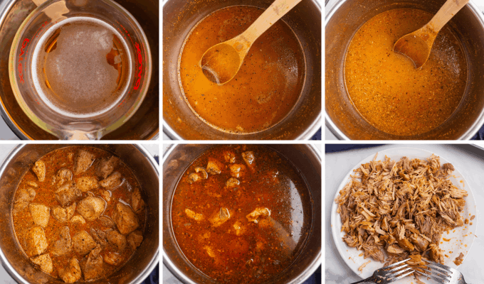 step by step how to pressure cook pork for pork carnitas - image collage