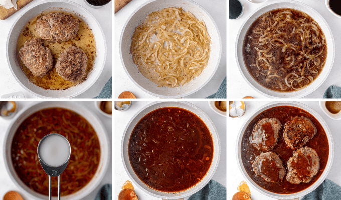 step by step how to make stout bbq gravy - image collage