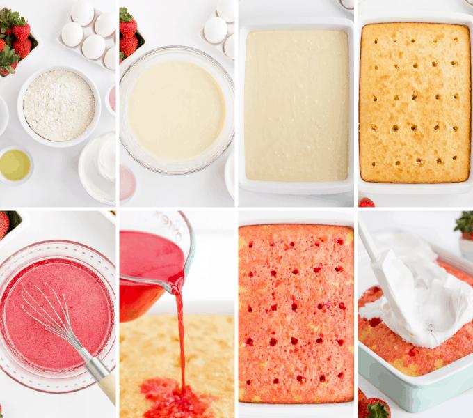 step by step how to make strawberry poke cake