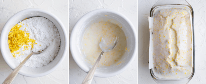 step by step how to make lemon glaze for pound cake - image collage