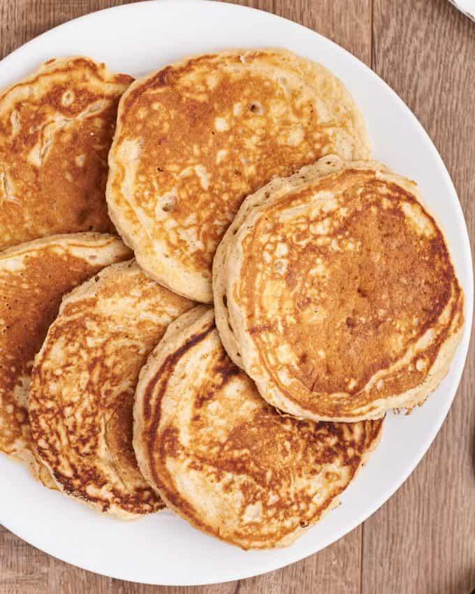 platter of homemade pancakes