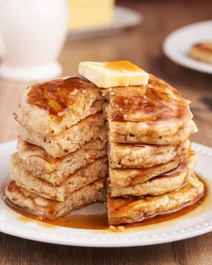 pancakes with slice taken out of them