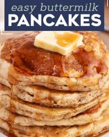 Start your morning off right with a big stack of these fluffy and melt in your mouth Buttermilk Pancakes. This old-fashioned recipe is so easy, tastes way better than a boxed mix, and gives you pancakes with the most perfectly crisp edges and soft fluffy centers. #pancakes #buttermilk #flapjacks #oldfashionedrecipe #fromscratch #homemade