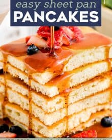 These Fluffy Sheet Pan Pancakes are a delicious way to cook a big breakfast that the whole family can enjoy, together! No standing over the stove making 1-2 pancakes at a time. #pancakes #sheetpan #buttermilk #breakfast #batchcooking