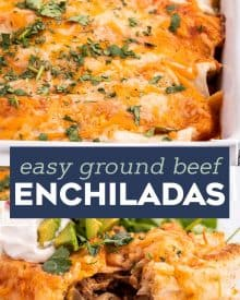 These Easy Beef Enchiladas are made with a flavorful ground beef, green chiles, and black bean filling, piled high with cheese, and all smothered in a mouthwatering homemade enchilada sauce and baked to gooey cheesy perfection! #enchiladas #beef #mexican