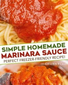 This recipe for Homemade Marinara Sauce is ready in about 30 minutes, uses simple ingredients, and is freezer friendly. So much better than anything from a jar, it's perfect on pasta, as a dipping sauce, and more! #marinara #italian #homemade #pastasauce