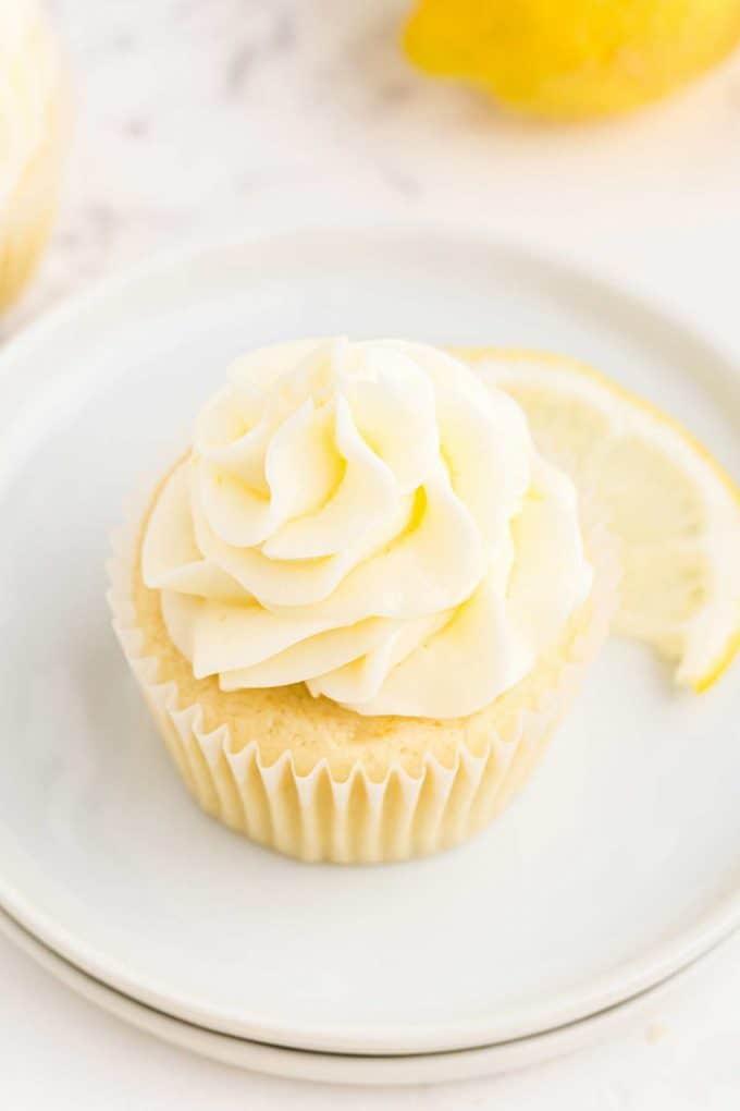 swirl of lemon frosting on cupcake