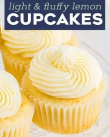 These amazing Lemon Cupcakes are fluffy, moist and easy to make from scratch. They have the perfect flavor balance of tangy and sweet, and have a super tender crumb. Top with your favorite buttercream and enjoy! #cupcake #lemon #dessert #baking #cake #cupcakerecipe
