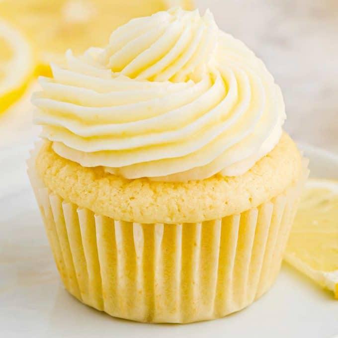 lemon cupcake with lemon buttercream frosting swirl on top
