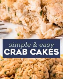 These crab cakes are made Maryland-Style with sweet lump crab, Old Bay and with little filler. Brushed with melted butter and baked to tender perfection! #seafood #crab #crabcakes #maryland