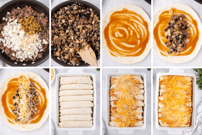 step by step how to make beef enchiladas - image collage