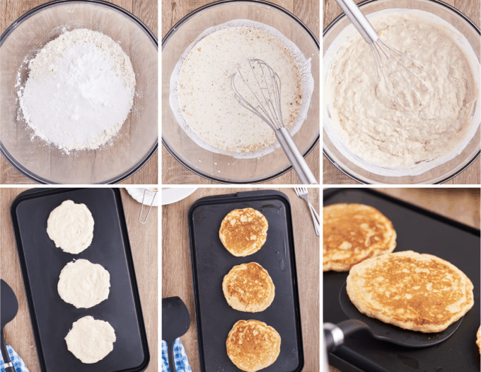 step by step how to make buttermilk pancakes - image collage