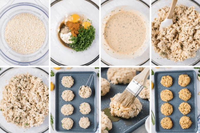step by step how to make baked crab cakes - image collage