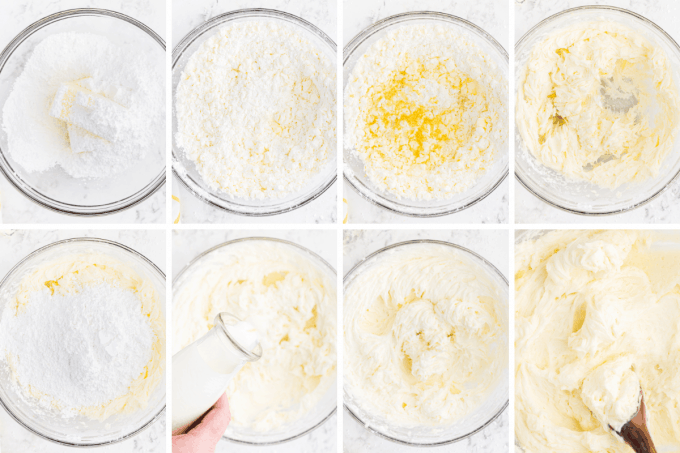 step by step how to make lemon buttercream - image collage