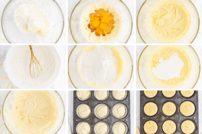 step by step how to make lemon cupcakes - image collage