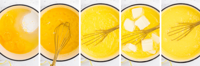 step by step how to make lemon curd - image collage
