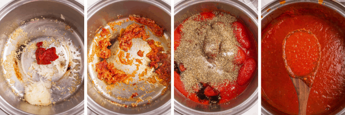 step by step how to make marinara sauce - image collage
