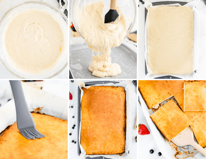 step by step how to make sheet pan pancakes - image collage