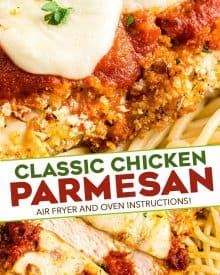 This Air Fryer Chicken Parmesan is made super easily with a handful of ingredients, uses less oil, and no messy pan-frying! Air fryer and oven instructions included. #airfryer #chickenparmesan #chickenrecipes