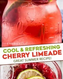 This refreshing non-alcoholic Tart Cherry Limeade is made with simple ingredients, makes a large batch, and the recipe has plenty of options for substitutions! #drink #summer #cherry #limeade