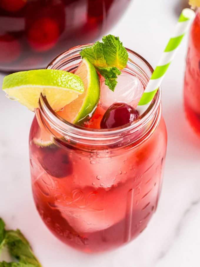 mason jar full of cherry limeade.