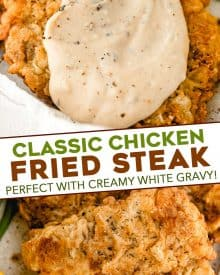 Chicken Fried Steak is a southern classic made with tender marinated cube steaks that have been breaded and pan fried until golden. And don't forget the creamy white pepper gravy on top! Restaurant-quality, but made easily at home. #chickenfriedsteak #beef #dinner #comfortfood
