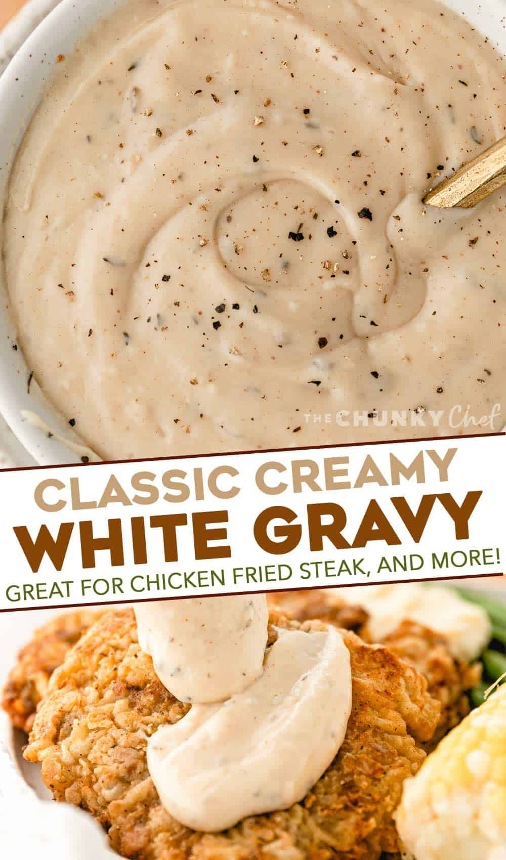 overhead view of white gravy in bowl sprinkled with black pepper