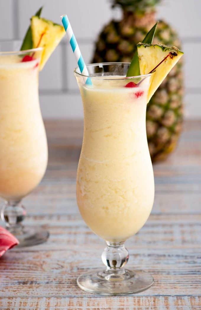 hurricane glass of pina colada made from scratch