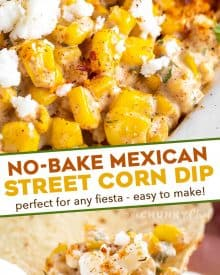 This Street Corn Dip has all the classic Mexican street corn flavors, but in a fun dip-able form! Great served hot or at room temperature, and always a crowd-pleaser! #corndip #streetcorn