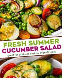 This easy mayo-free Cucumber Salad is complete with not only fresh cucumbers, but also sweet peas, crunchy red onion, tangy tomatoes, fresh herbs and a simple balsamic vinaigrette dressing. Perfect alongside a light summer meal or at a potluck! #cucumber #salad #summer