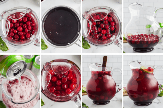 step by step how to make cherry limeade - image collage.