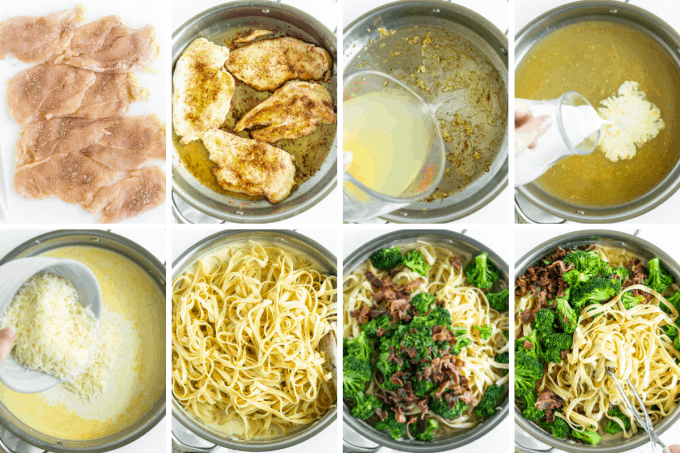 step by step how to make chicken alfredo - image collage.