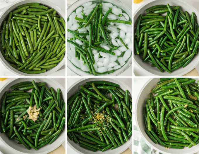 step by step how to make green beans in a skillet - image collage.