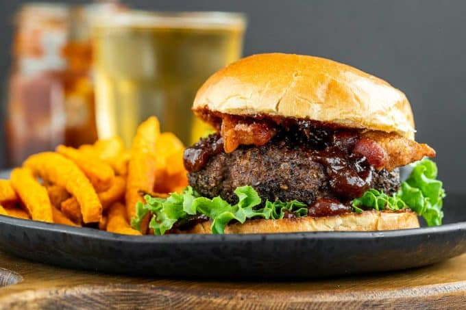 plate with homemade burger and fries