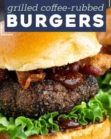 These Homemade Burgers are seasoned with a spiced coffee rub that elevates the flavor of the beef and makes for a truly epic hamburger! The cola and coffee bbq sauce just sets it apart from the rest! #burger #dryrub #grillingrecipes