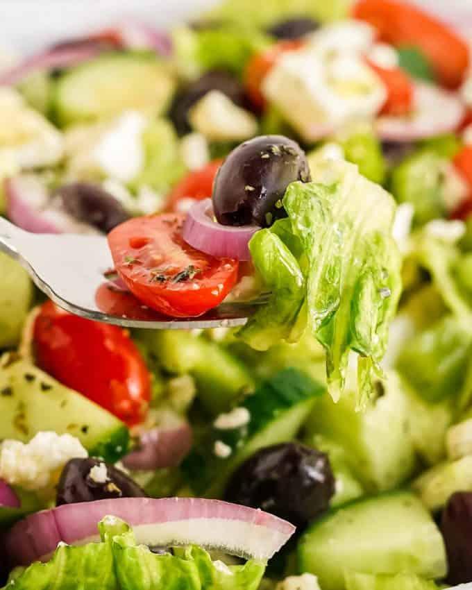 forkful of Greek salad