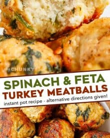 Juicy and full of amazing flavor, these Spinach and Feta Turkey Meatballs are perfect for a quick weeknight dinner, a fun appetizer, or meal-prepping for lunches! Easily made in the Instant Pot, oven or on the stovetop, you'll love the succulent texture. #meatballs #feta #turkey #greek