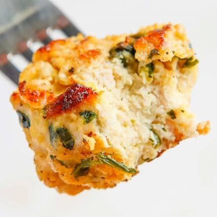 forkful of spinach and feta turkey meatball