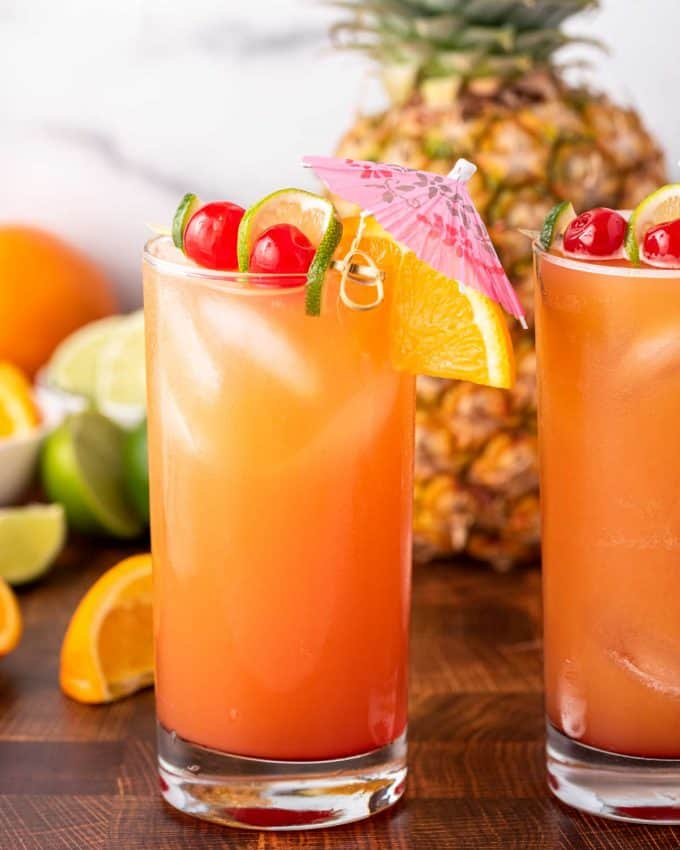 two rum punch cocktails