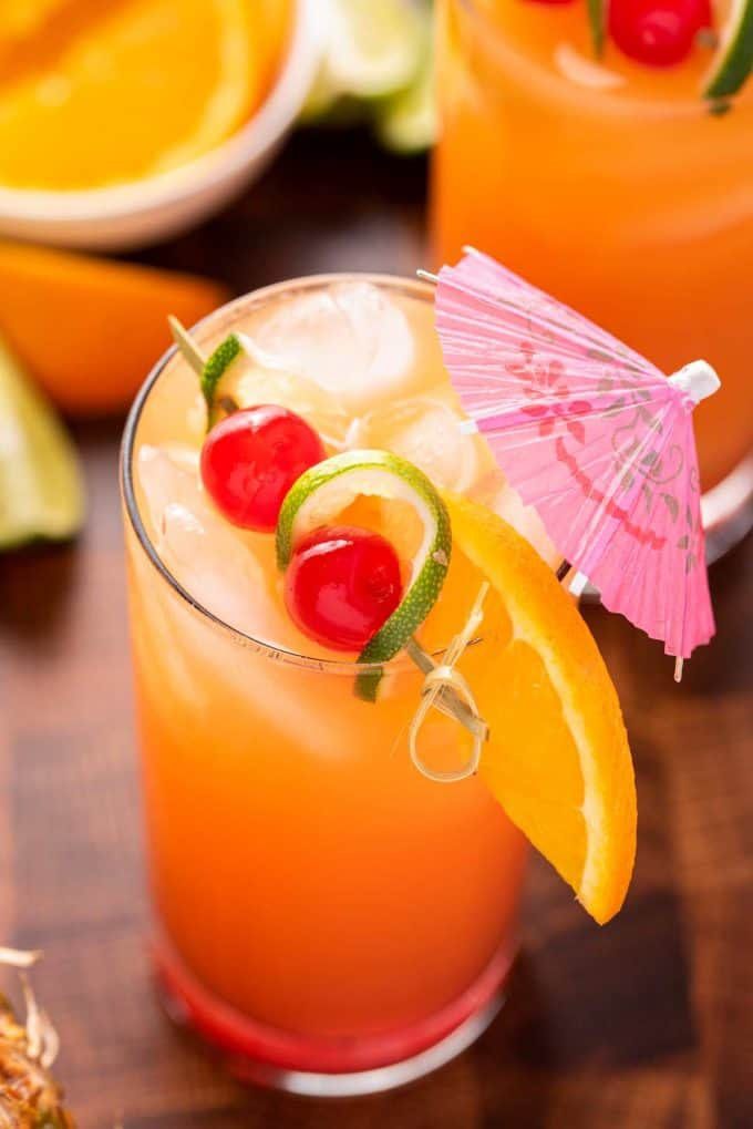 garnished rum punch in tall cocktail glass