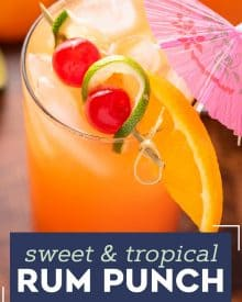 With just one sip, this Tropical Rum Punch will make you feel like you're on an island vacation! Easy to make just a single drink, or scale it up for a party! #punch #rum #cocktail