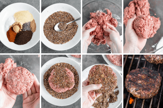 step by step how to make coffee rubbed homemade burgers