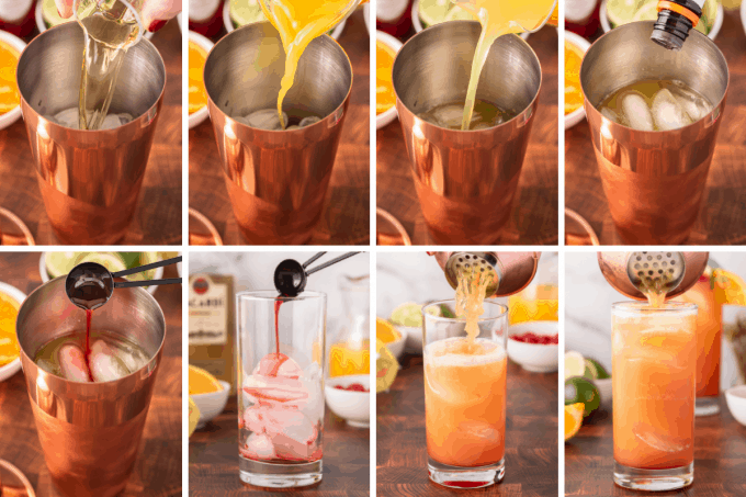 step by step photos of how to make tropical rum punch.