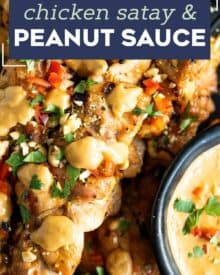 Juicy chicken thighs are marinated in an easy Thai-flavored marinade, then skewered and grilled until a little charred. And of course, don't forget the spicy peanut sauce that you'll be wanting to put on absolutely everything! #chickensatay #thai #peanutsauce #grilled