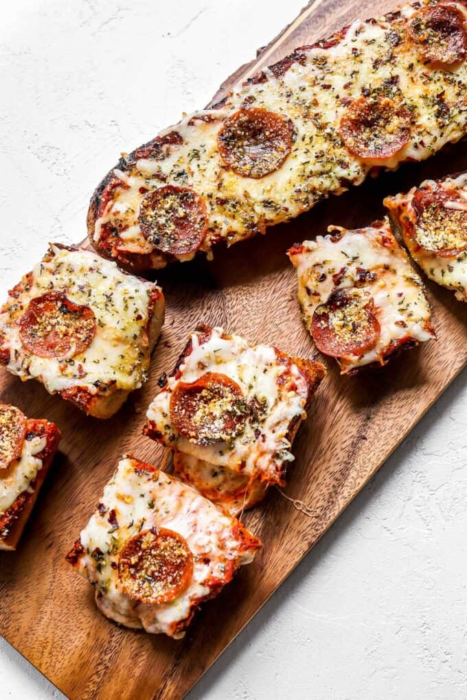 slices of french bread pizza on platter