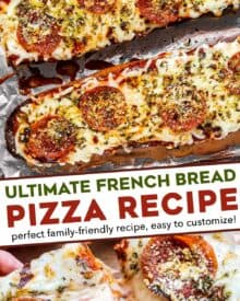 This recipe for French Bread Pizza is so easy to make, and so much better than anything from the frozen food aisle! French bread is brushed with garlic butter and toasted, then topped with all your favorite pizza toppings and baked again. #frenchbread #pizza #dinner