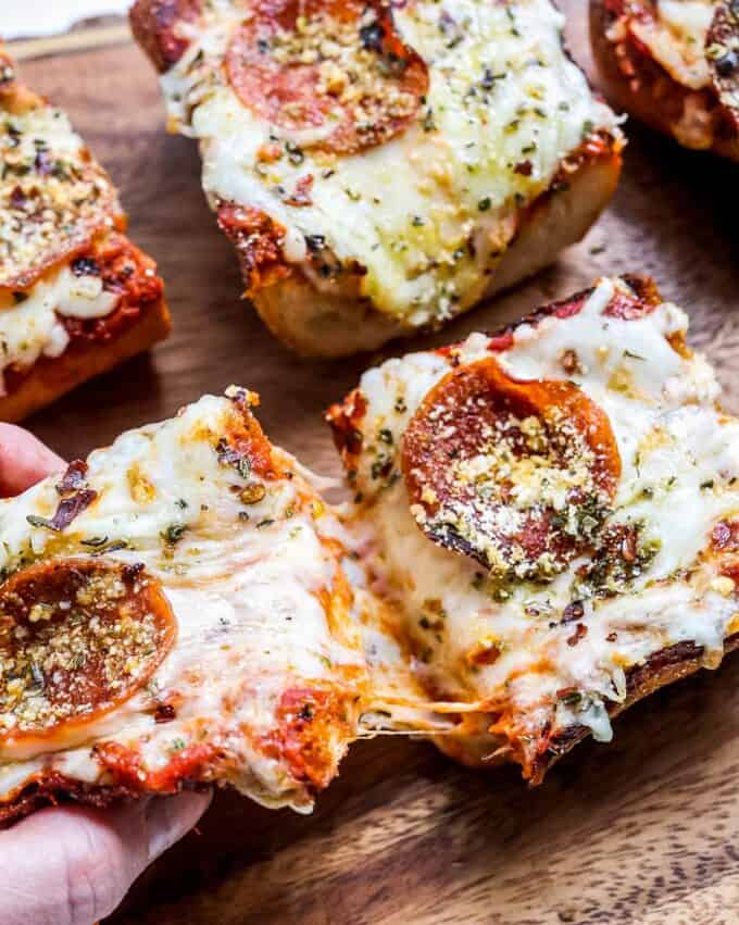 gooey cheese on french bread pizza