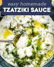 This cool and creamy Homemade Tzatziki Sauce is perfect on all kinds of grilled meats, but also with spiced toasted pita wedges and crunchy fresh vegetables! #tzatziki #greek #sauce #yogurt